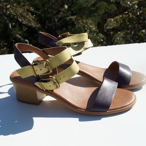 Lucky Brand Leyna Blue Yellow Sandals 8 1/2
